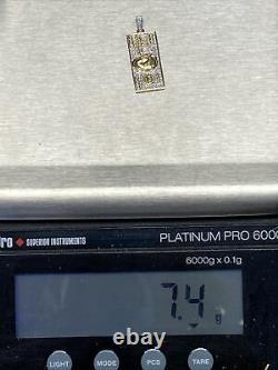 10k Diamant D'or Jaune 100 $ Pendentif De Billets D'une Centaine De Dollars 1,6 Charme 0,45 Ct