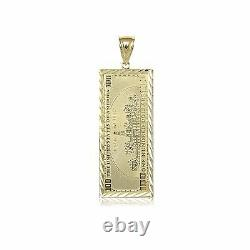10k Solid Yellow Gold One Hundred Dollar Pendentif -$100 Bill Money Collier Charm