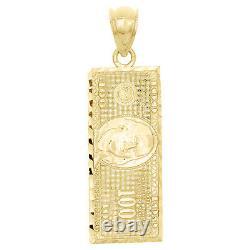 10k Yellow Gold $100 One Hundred Dollar Bill Currency Diamond Cut 1.50 Pendentif