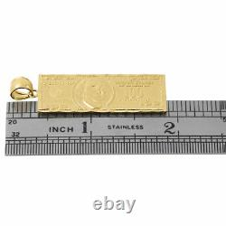 10k Yellow Gold $100 One Hundred Dollar Bill Currency Diamond Cut 1.85 Pendentif