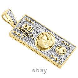 10k Yellow Gold Diamond $100 One Hundred Dollar Bill Pendentif 1.6 Charm 0.45 Ct