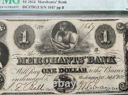 1852 Merchants' Bank, District De Columbia 1 Dollar Bill Pmg Certifié
