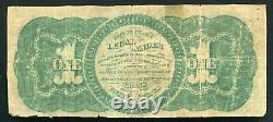1862 $1 One Dollar Legal Tender États-unis Note (d)