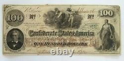 1862 États Confédérés 100 $ Bill Cent Dollars Devise Richmond Va