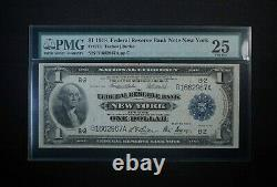 1918 $1 One Dollar Federal Reserve Bank Note New York Pmg 25 Free Shipping USA