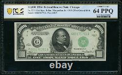 1934 1000 $ Mule 1 000 $ Chicago Frn Note Pcgs Cu 64 Ppq Fr#2211gm