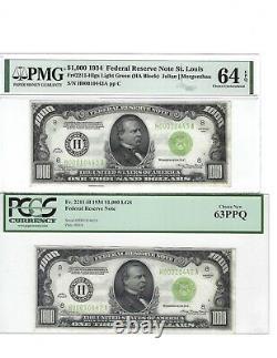 1934 1000 $ St. Louis Lgs Uncirculated Consecutif Pair 1 000 $ Billet