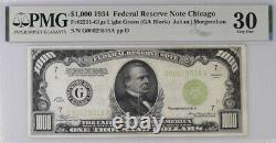 1934 Chicago 1000 $ 1 000 $ Bill Federal Reserve Note Lgs 500 Pmg 30