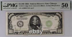 1934 Chicago 1000 $ Billet De Mille Dollars Réserve Fédérale Note 500 Pmg 50 Au