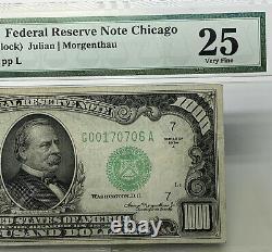 1934 Chicago 1000 $ Billet De Mille Dollars Réserve Fédérale Note Pmg Vf 25