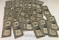 1935 Bill D'un Dollar En Argent Hautement Circulé Note De Certificat Lot De 100