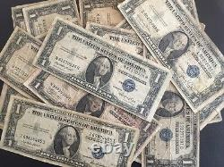 1935 One Dollar Bill Well Circulated Silver Certificate Blue Seal Note Lot De 50