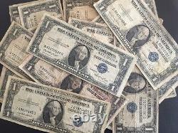 1935 Un Dollar Bill Bien Circulé Certificat D'argent Bleu Seal Note 100pc Lot