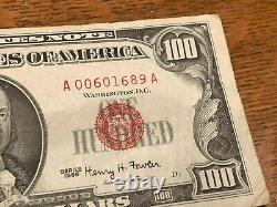 1966 100 $ Cent Dollars Sceau Rouge Appel D'offres Légal États-unis Note