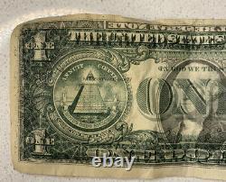 1977a $1 Un Dollar Bill Double Imprimer Retour Erreur Mauvaise Impression Super Rare