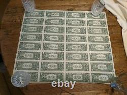 1981 Série $ 1 Dollar Bill Us Feuille De Devises 32 Notes Non Découpées Non Distribuées #5