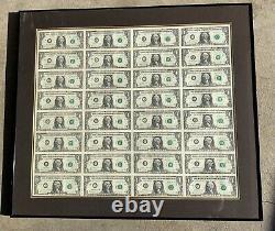 1988 Série A $ 1 Dollar Bill Us Feuille De Devises 32 Notes Non Découpées Non Circulées