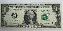 1 00000032 $ One Dollar Bill 2 Digit 6 Zeros Super Fancy Serial Numéro 2013