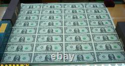 1 $ Série A 2003 Feuille Non Découpée De 32 Billets D'un Dollar, Roulés Et Dans Un Tube