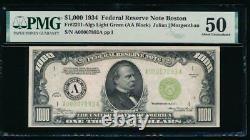 Ac 1934 1000 $ Boston Lgs One MILL Dollar Bill Pmg 50 Joint Vert Clair