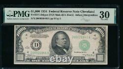 Ac 1934 1000 $ Cleveland Un Millier Dollar Pmg 30