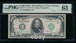 Ac 1934a 1000 $ Chicago One MILL Dollar Bill Pmg 63 Non Circulé