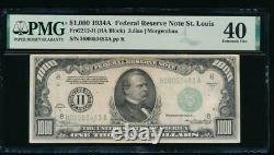 Ac 1934a 1000 $ Saint Louis One MILL Dollar Bill Pmg 40 Commentaire