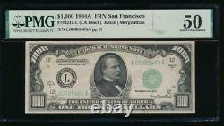 Ac 1934a 1000 $ San Francisco One Mille Dollar Bill Pmg 50 Commentaire