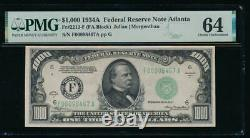 Ac 1934a 1 000 $ Atlanta Une Mille Dollar Bill Pmg 64