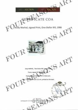Andy Warhol, One Dollar Bill, Print From Vip Book. Main Signée Par Warhol, Coa