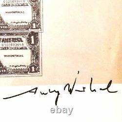 Andy Warhol Signature Signée À La Main Un Dollar Bills Imprimé