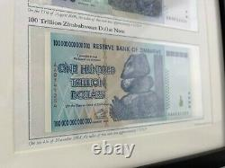 Authentique Unc 100 Trillions & One Cent Zimbabwe Dollar Banknote Display. Rare