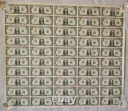 Billets En Devises Américaines - Feuille Non Coupée-50 Billets D'un Dollar