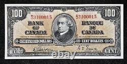 Canada 1937 100 $ Billet D'une Centaine De Dollars, Gordon/towers, Préfixe B/j, Près De L'ua