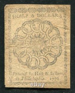 Cc-21 17 Février 1776 1/2 $ Une Demi-dollar Note De Monnaie Continentale (d)