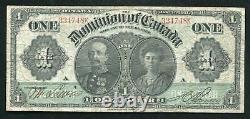 Dc-18a 1911 $1 Un Dollar Dominion Du Canada Billet De Banque Très Fine