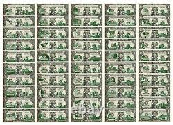 Ensemble Complet Des Billets De 50 $ State $1 Bill Genuine Legal Tender Us One-dollar Banknotes