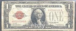 États-unis 1 Dollar 1928 États-unis Note Sceau Rouge Selten Schein One Banknote #11895