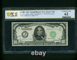 Kansas City 1934 1000 $ Un Milland Dollar Bill Note Fr. 2211-j Pcgs 62 Unc