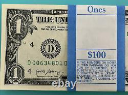 One Stack Of 2017 One Dollar $1 Bep Pack De Brick Avec Cinq Rare Str Bills