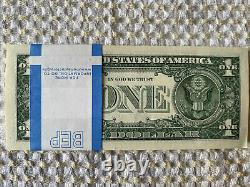 One Stack Of 2017 One Dollar $1 Unc Unique Sequence & Star Bills Bep Pack