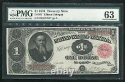 P. 351 1891 $1 Dollar Stanton Treasury Note Pmg Choice Uncirculated-63