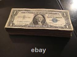 Pack 100x 1935-1957 One Dollar Note $1 Silver Certificate G-xf Blue Seal Bill