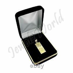 Pendentif 10k Solid Yellow Gold $100 One Hundred Dollar Bill Avec Chaîne De Corde De 2.5mm