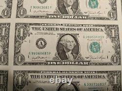 Série 1981 $1 One Dollar Bill Us Currency Sheet 32 Notes Uncut Uncirculated #2