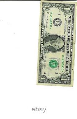 Série B 2013 $1 One Dollar Bill Star Note Rare Single Run 250k Star Note