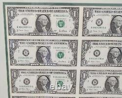 Silver Framed 2001 Series Uncut $1 One Dollar Bill Us Currency Sheet Of 32 Mint