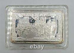 Tres Rare Scellé. 999 Argent Fine One Ounce Oz Art Bar Lingot 2 Dollar Bill