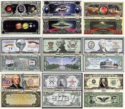 Un De Chaque 1200 Différents Funny Money Novelty Dollar Bills + Manches Gratuites