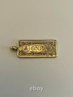 Vintage 14k Or Jaune Un Dollar Bill Charm/pendentif